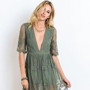 2581dd6b737 Versd Pants -  Amelia  Lace Romper Maxi Dress
